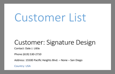 template customer list